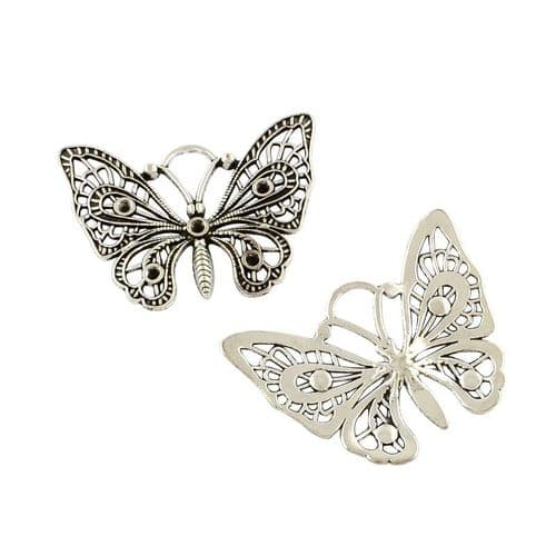 Large Butterfly Pendant with Rhinestone settings (single)